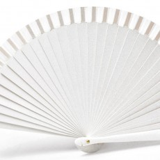 Abanico liso metalizado blanco