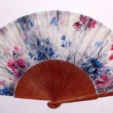 Abanico pintado a mano con diseño estampado floral