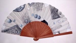Abanico pintado a mano con diseño Kyoto