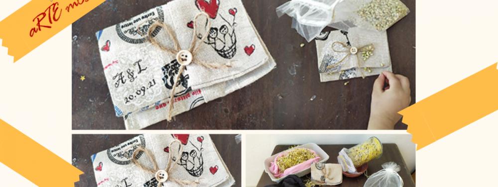 Bolsas personalizadas de tela con semillas